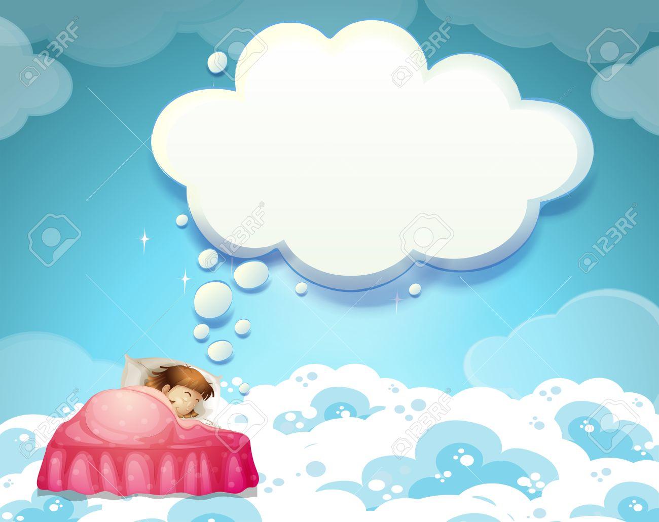 雲の背景イラストがベッドで寝ている女の子 ロイヤリティフリークリップ