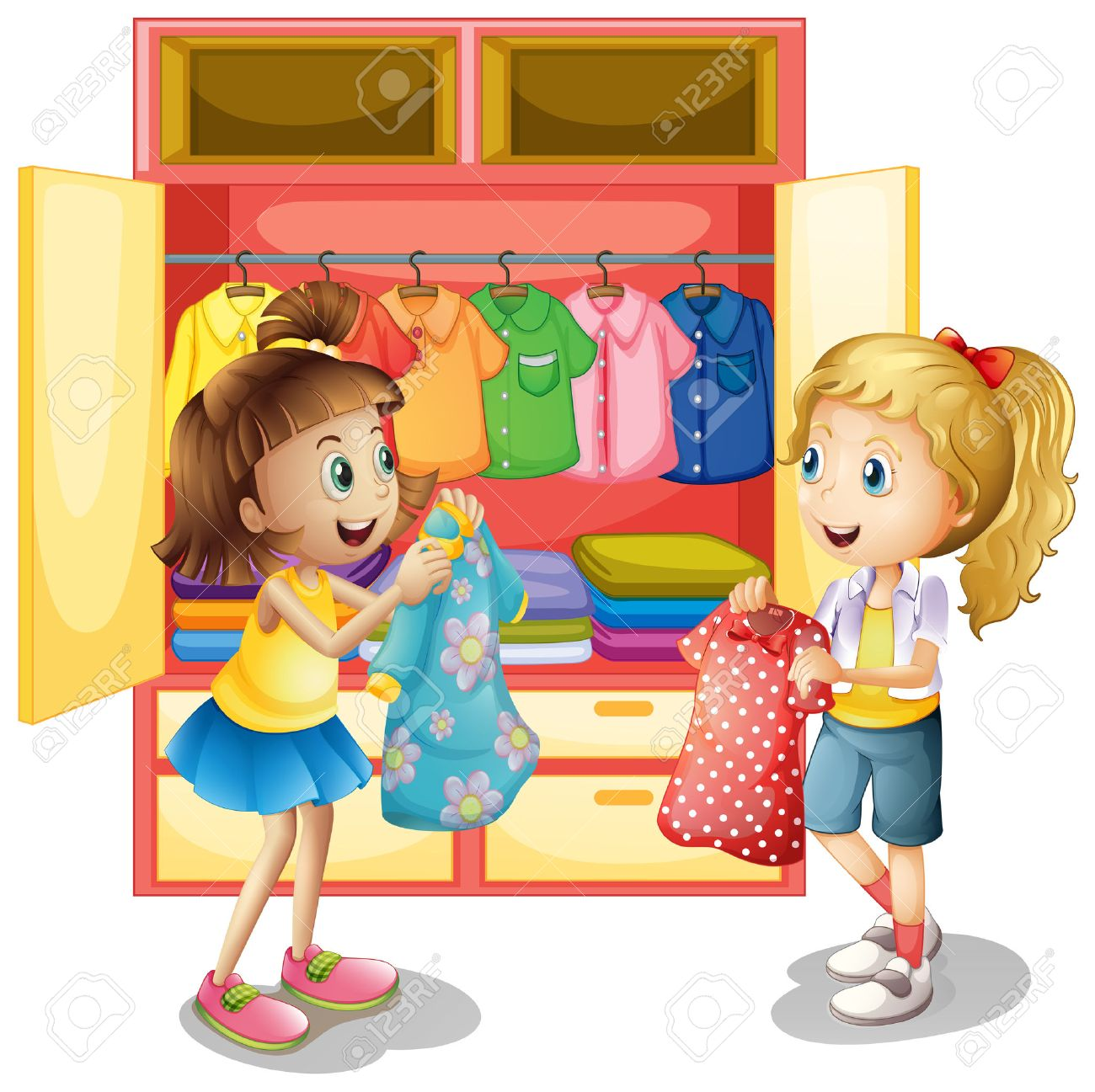 Two Girls Picking Out Clothes From Closet Illustration Stock Vector