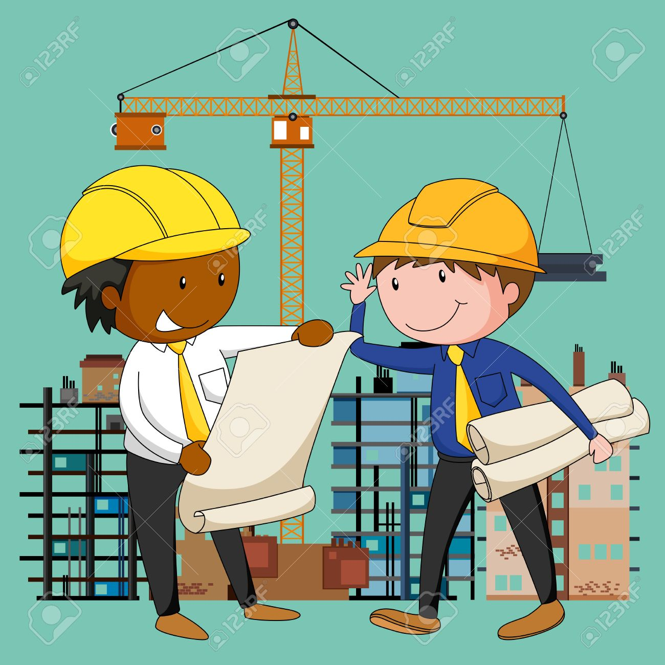 engineers working at the construction site illustration royalty
