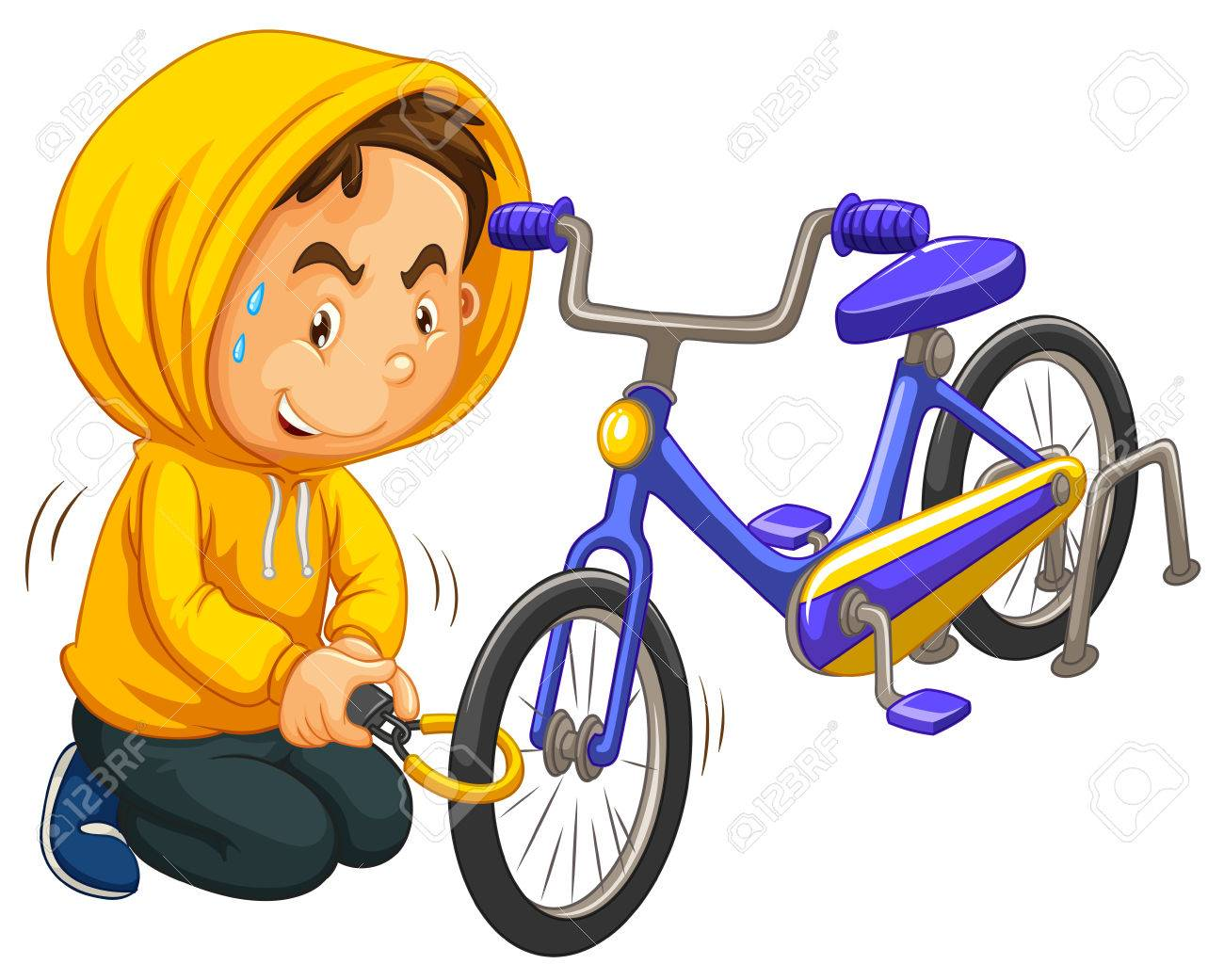 boy in yellow hood stealing bicycle illustration royalty free rh 123rf com stealing food clipart stealing information clipart
