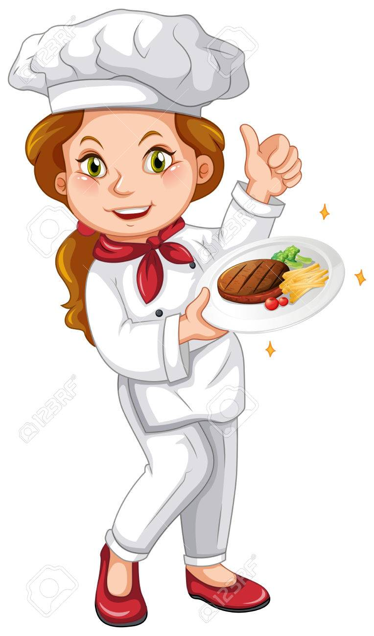 female chef holding signature dish illustration royalty free rh 123rf com female chef clipart black and white female chef clip art free