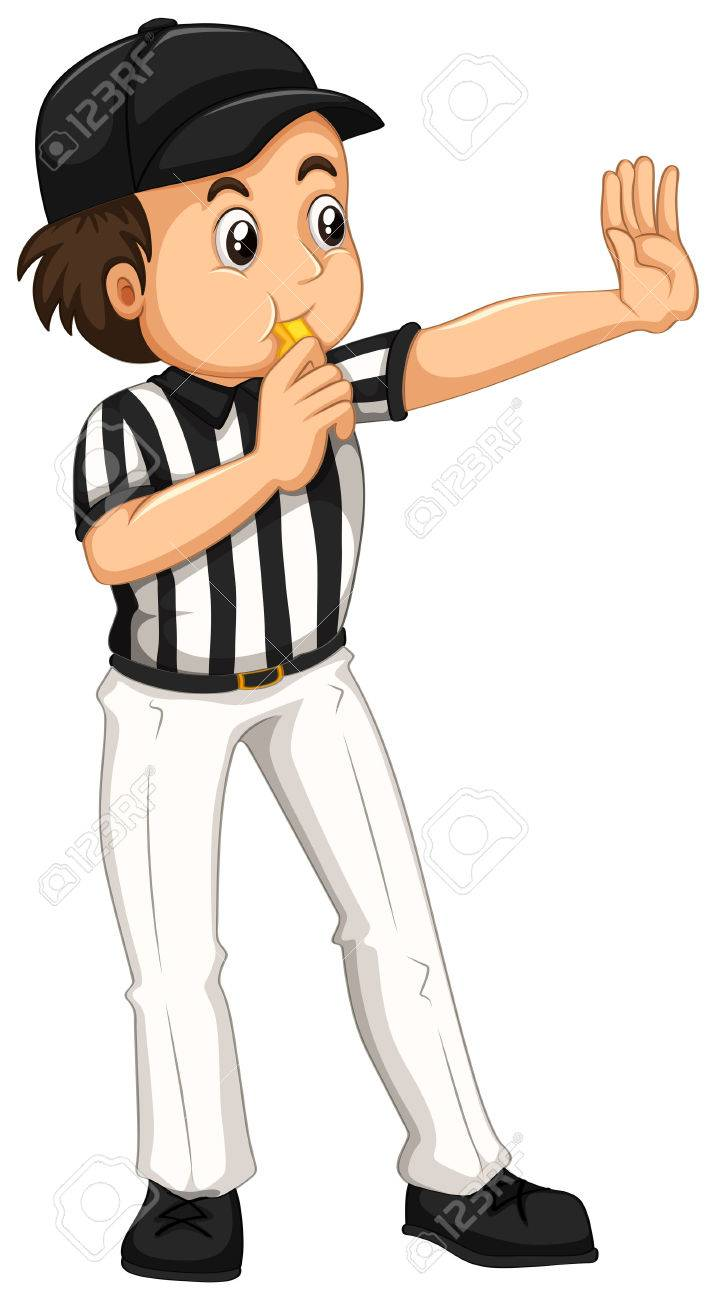 Umpire in striped uniform blowing whistle illustration - 56548984