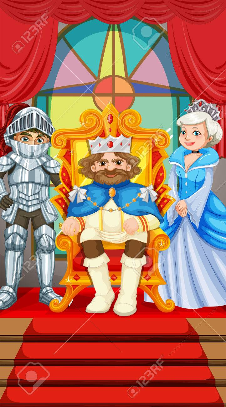 King And Queen At The Throne Illustration Royalty Free Cliparts
