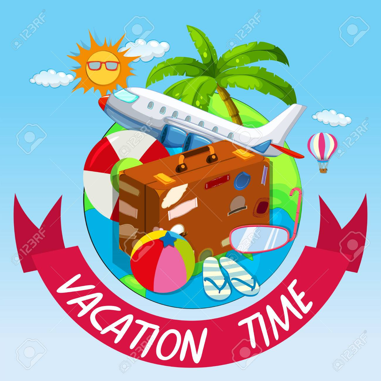Vacation Time With Bag And Airplane Illustration Stock Vector
