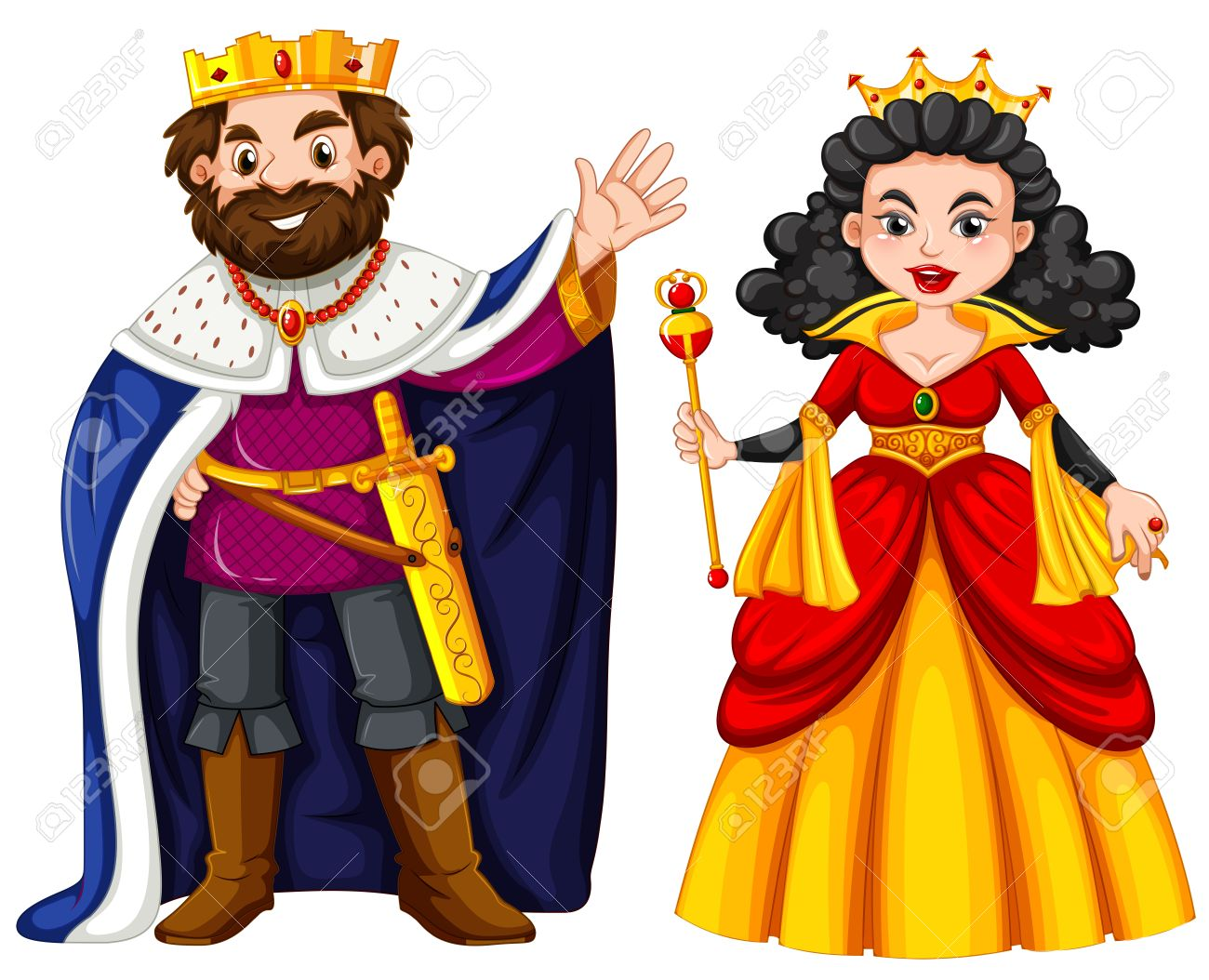 king and queen with happy face illustration royalty free cliparts rh 123rf com king and queen clipart free king and queen crowns clipart