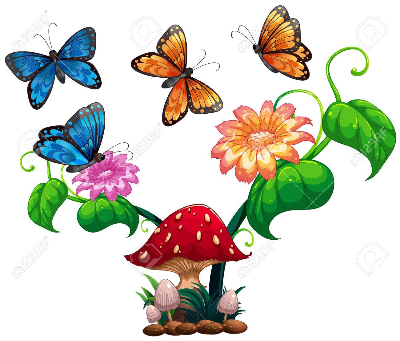 butterflies flying around mushroom and flower illustration royalty