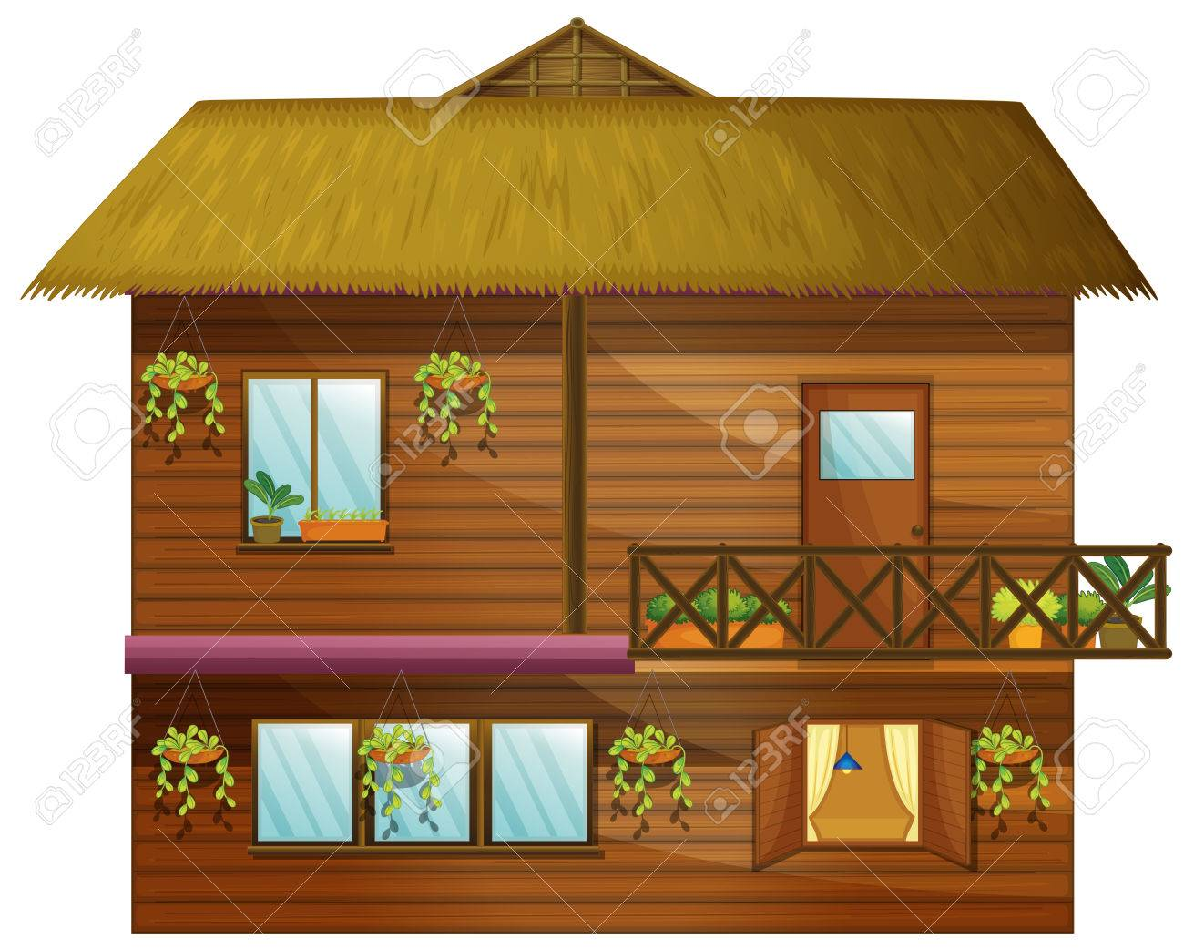 Wooden House With Two Stories Illustration Stock Vector