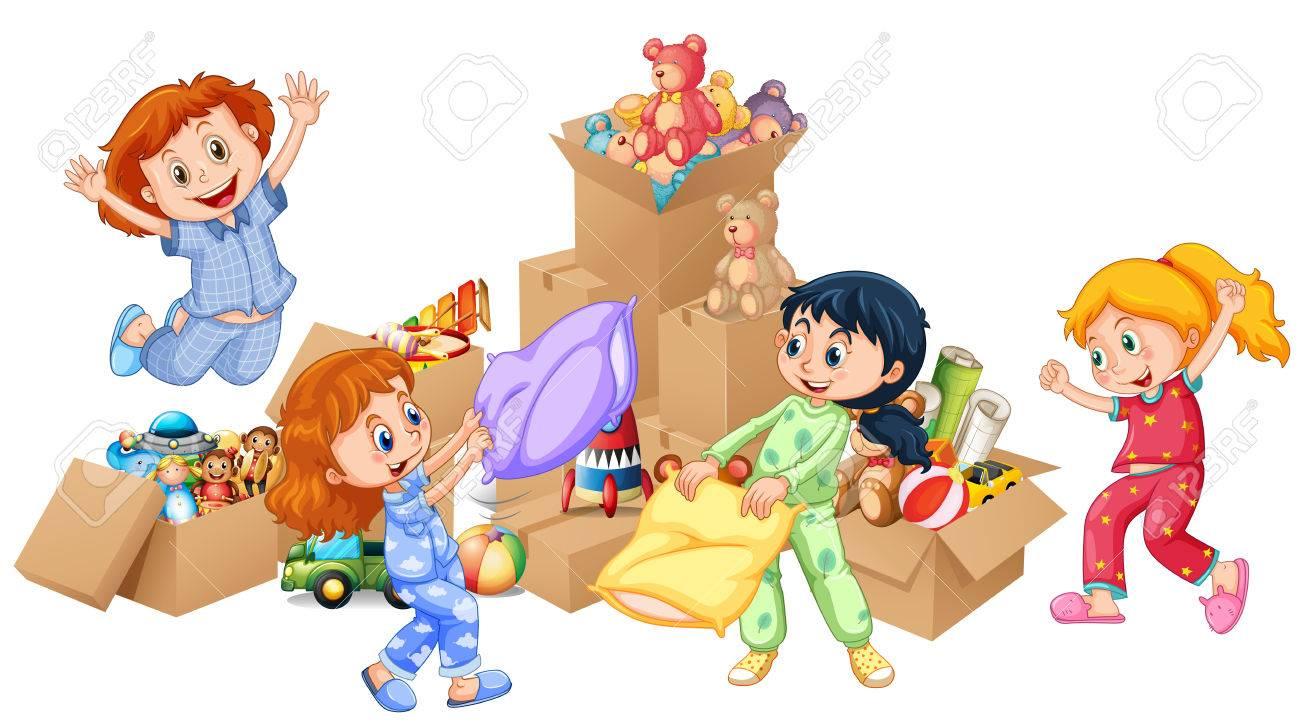 4 人の女の子のおもちゃ図で遊んでのイラスト素材ベクタ Image 58502775