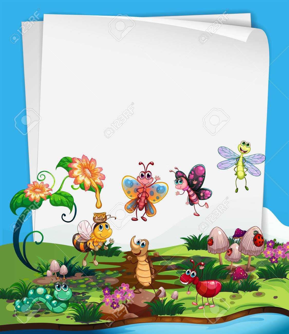 paper template with insects in garden illustration royalty free