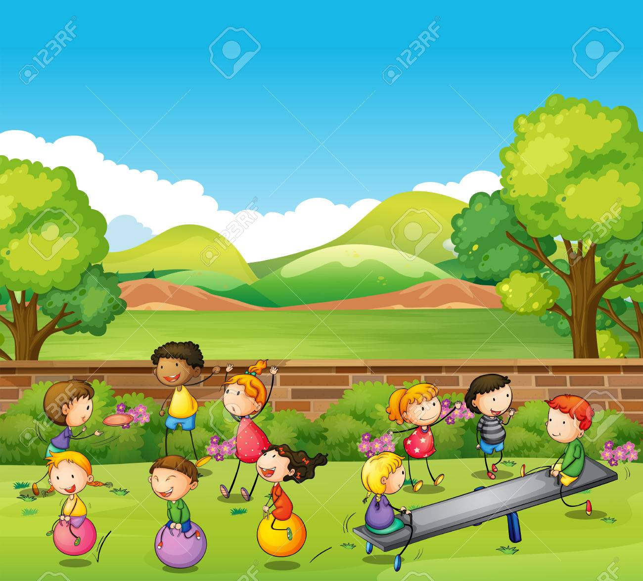 Children playing games in the park illustration - 58502900