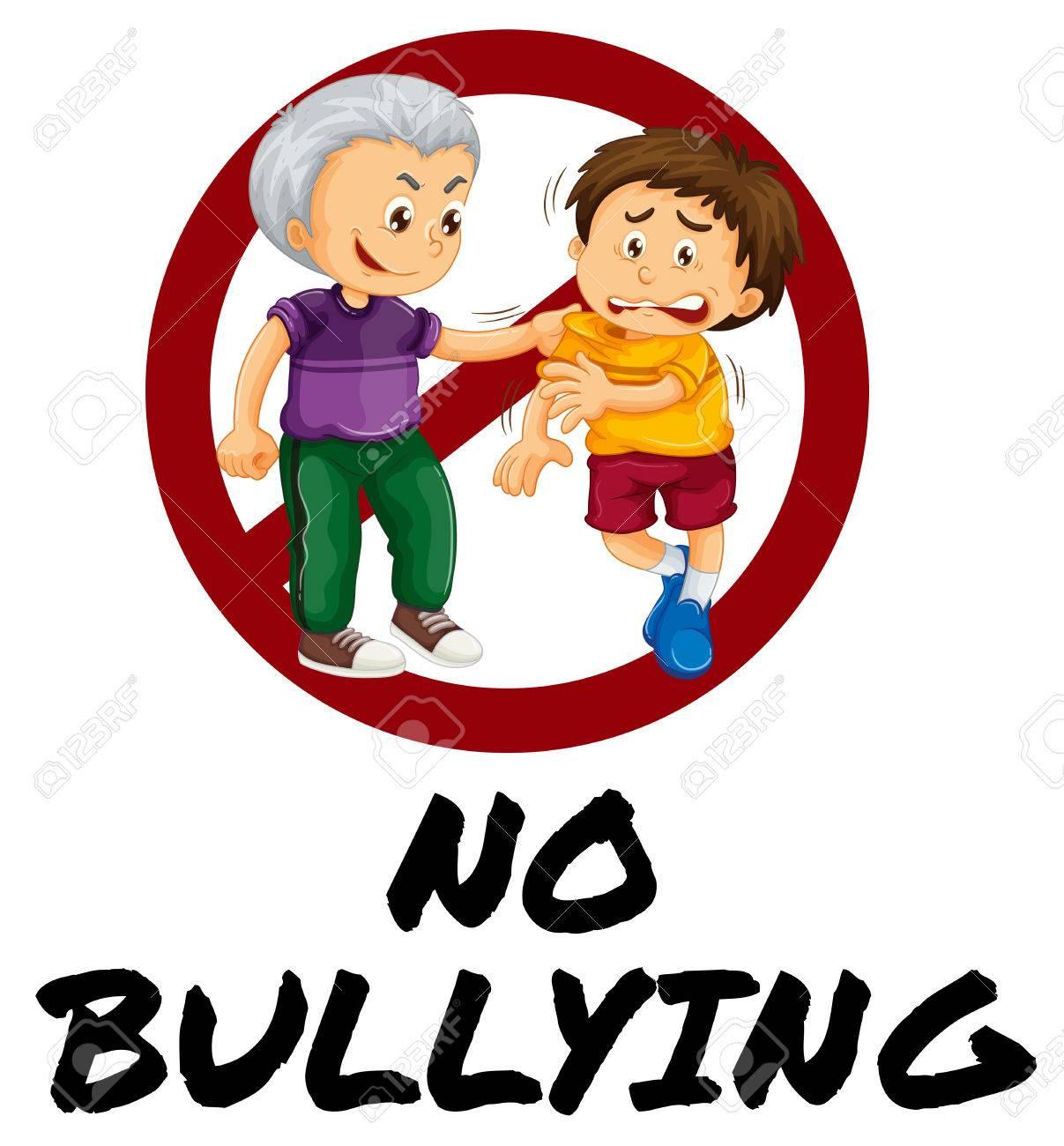 sign warning for no bullying illustration royalty free cliparts