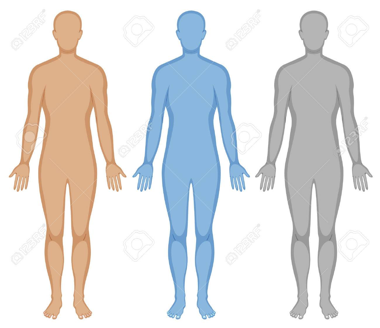 Human body outline in three colors illustration - 59930155
