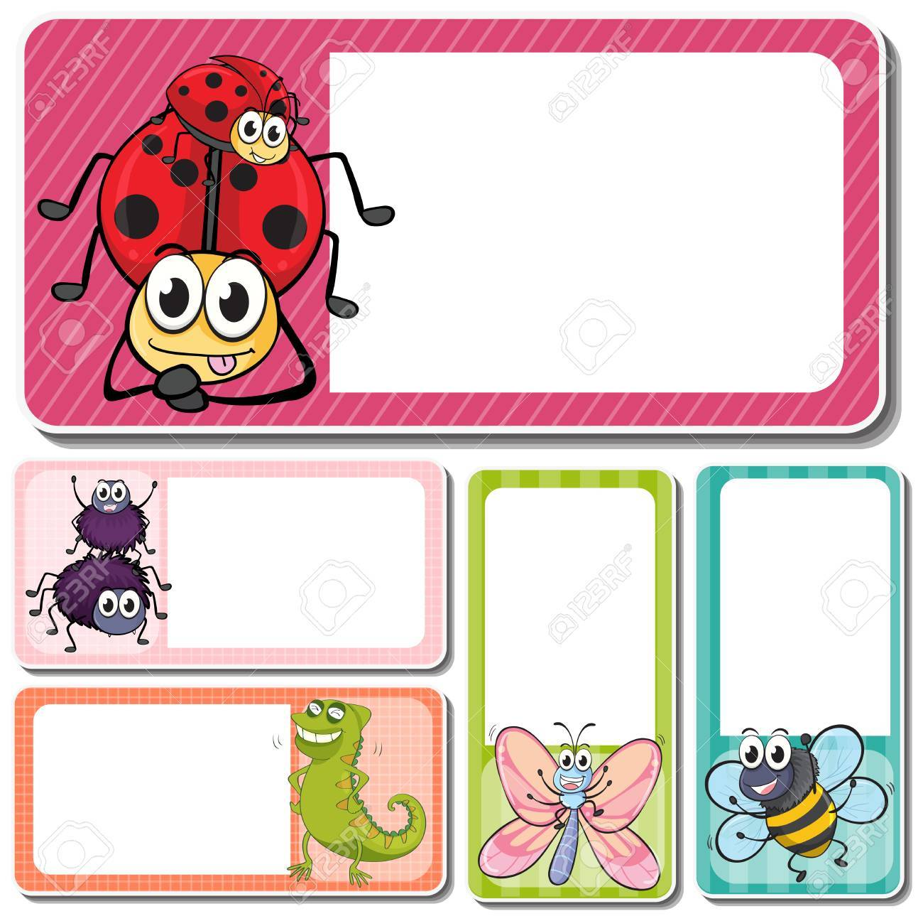 Different Insects On Square Labels Illustration Stock Vector