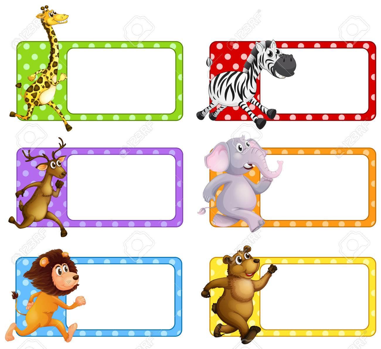 Animales Salvajes En Las Etiquetas De La Ilustración Cuadrada ...