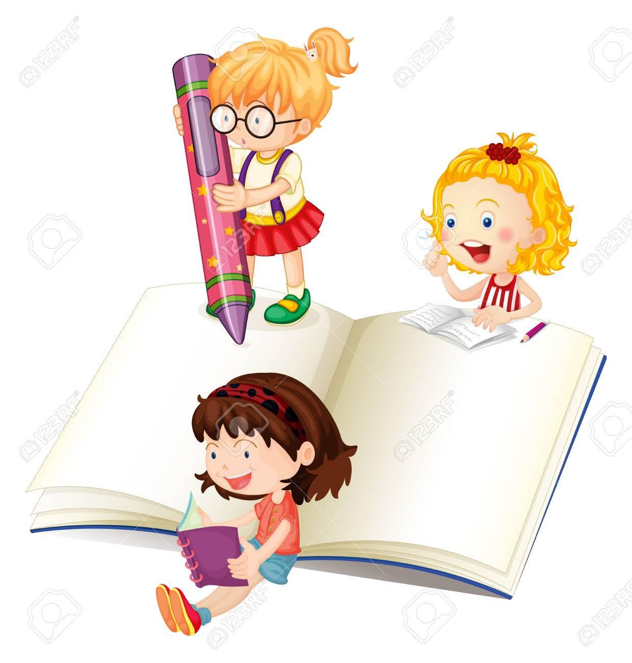 Filles Lire Et Ecrire L Illustration Du Livre