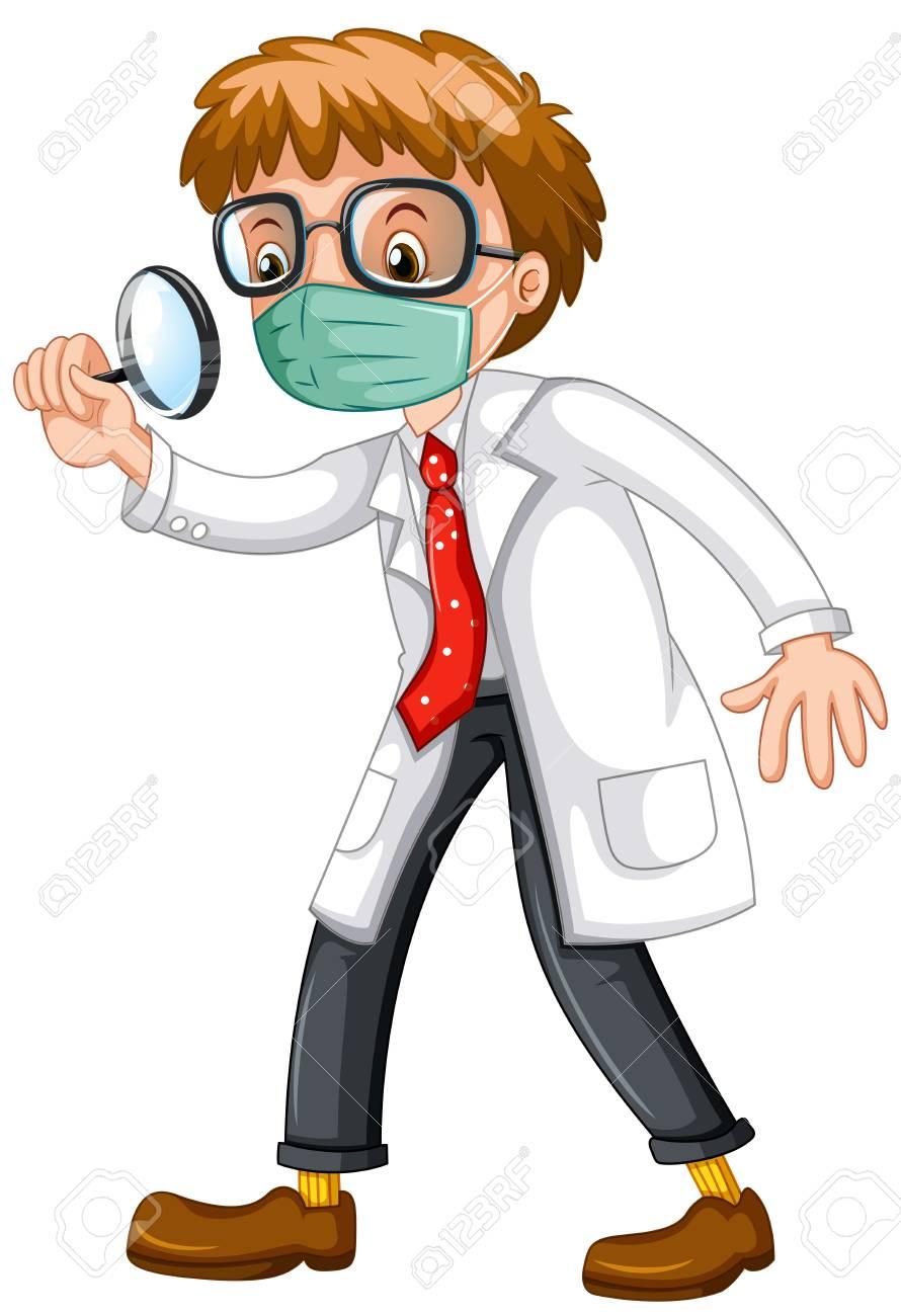虫眼鏡イラストを通して見る医師 ロイヤリティフリークリップアート