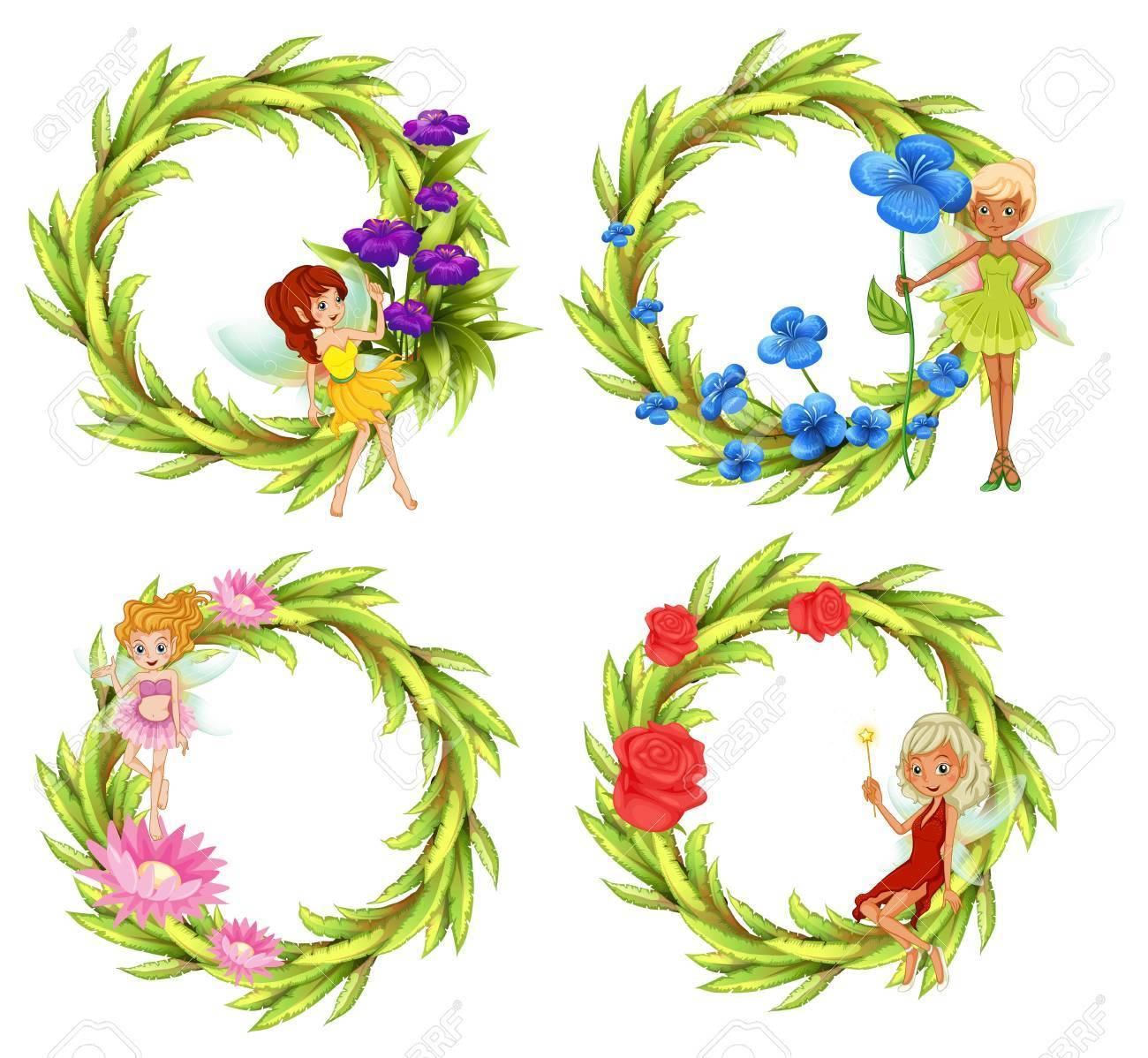 Fées qui volent autour de la fleur bouguet illustration Banque d\u0027images ,  63871494