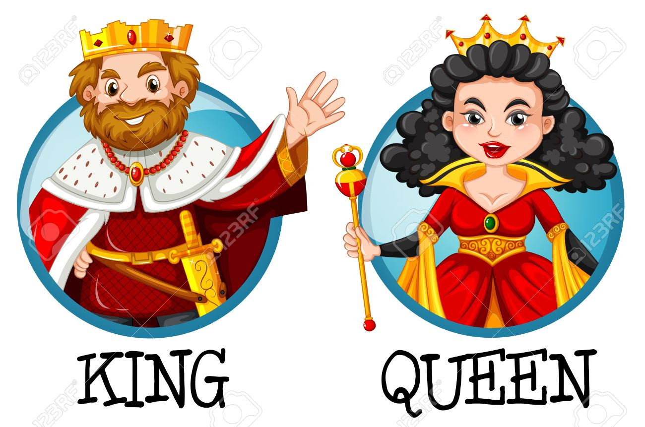 king and queen on round badges illustration royalty free cliparts rh 123rf com homecoming king and queen clipart king and queen clipart free