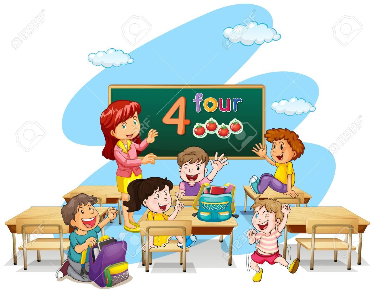 teacher teaching students in classroom illustration royalty free