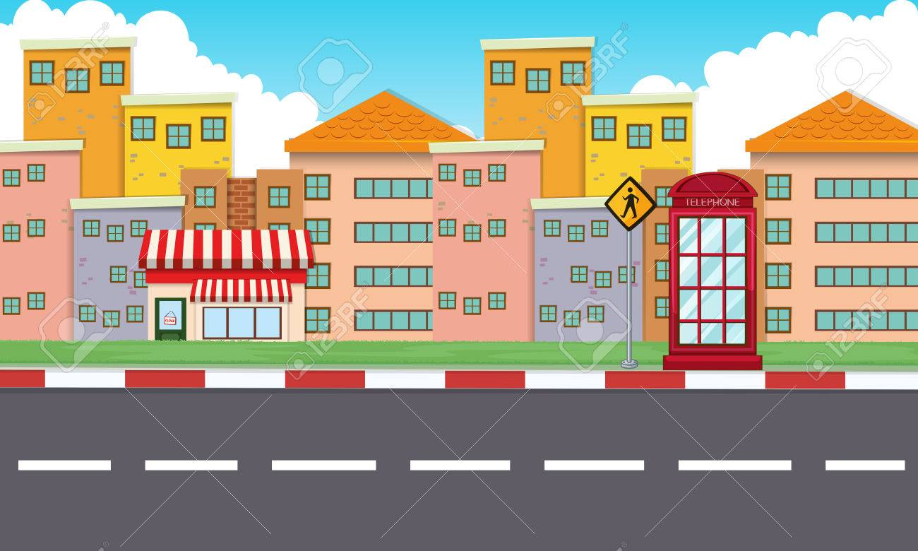 Buildings Along The Empty Road Illustration Royalty Free Cliparts Vectors And Stock Illustration Image 64619886