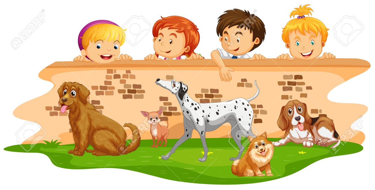 Children Looking At Dogs Over The Wall Illustration Royalty Free ...