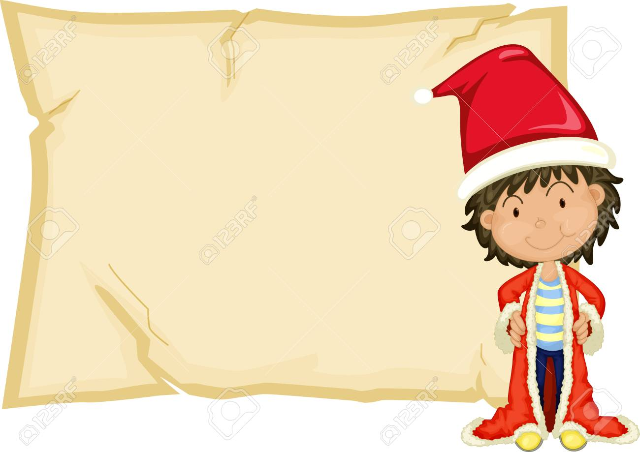 Paper Template With Boy In Santa Hat Illustration Royalty Free ...