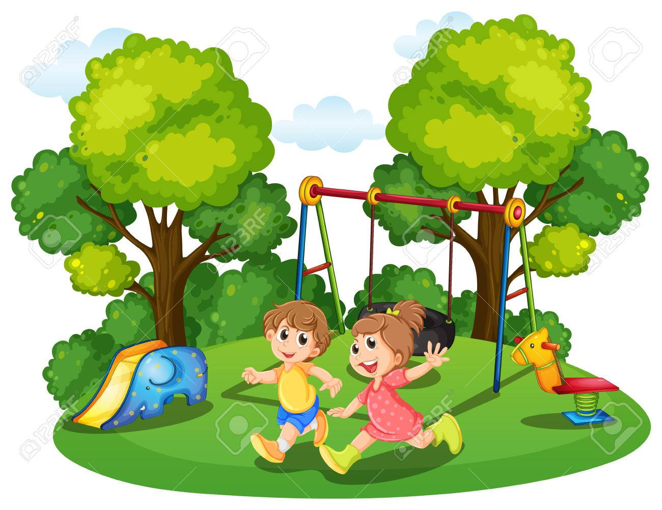 two kids running in the park illustration royalty free cliparts rh 123rf com park clipart png park clipart