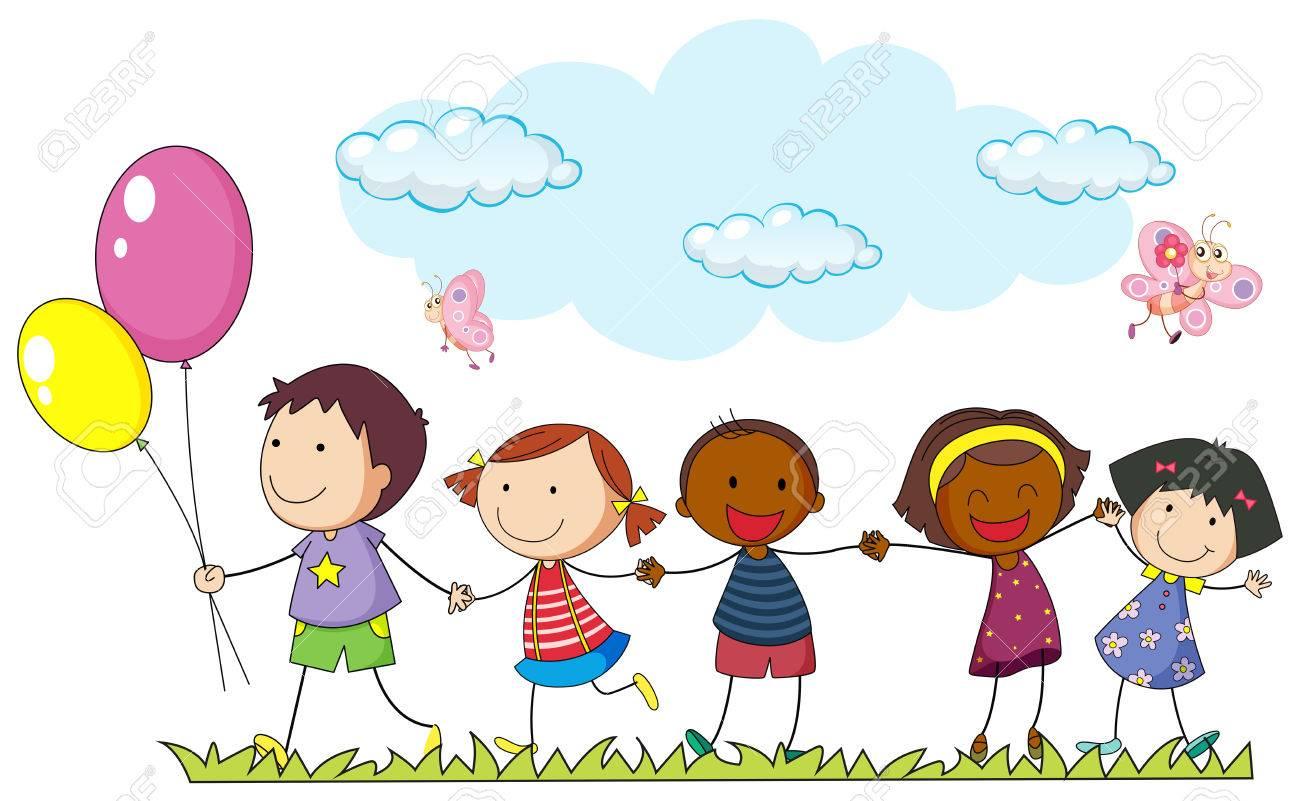 Los Niños Tomados De La Mano En La Ilustración Parque Ilustraciones