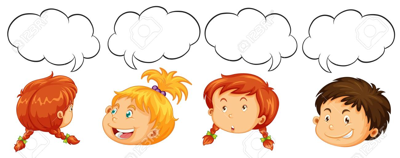 boys and girls with speech bubble templates illustration royalty