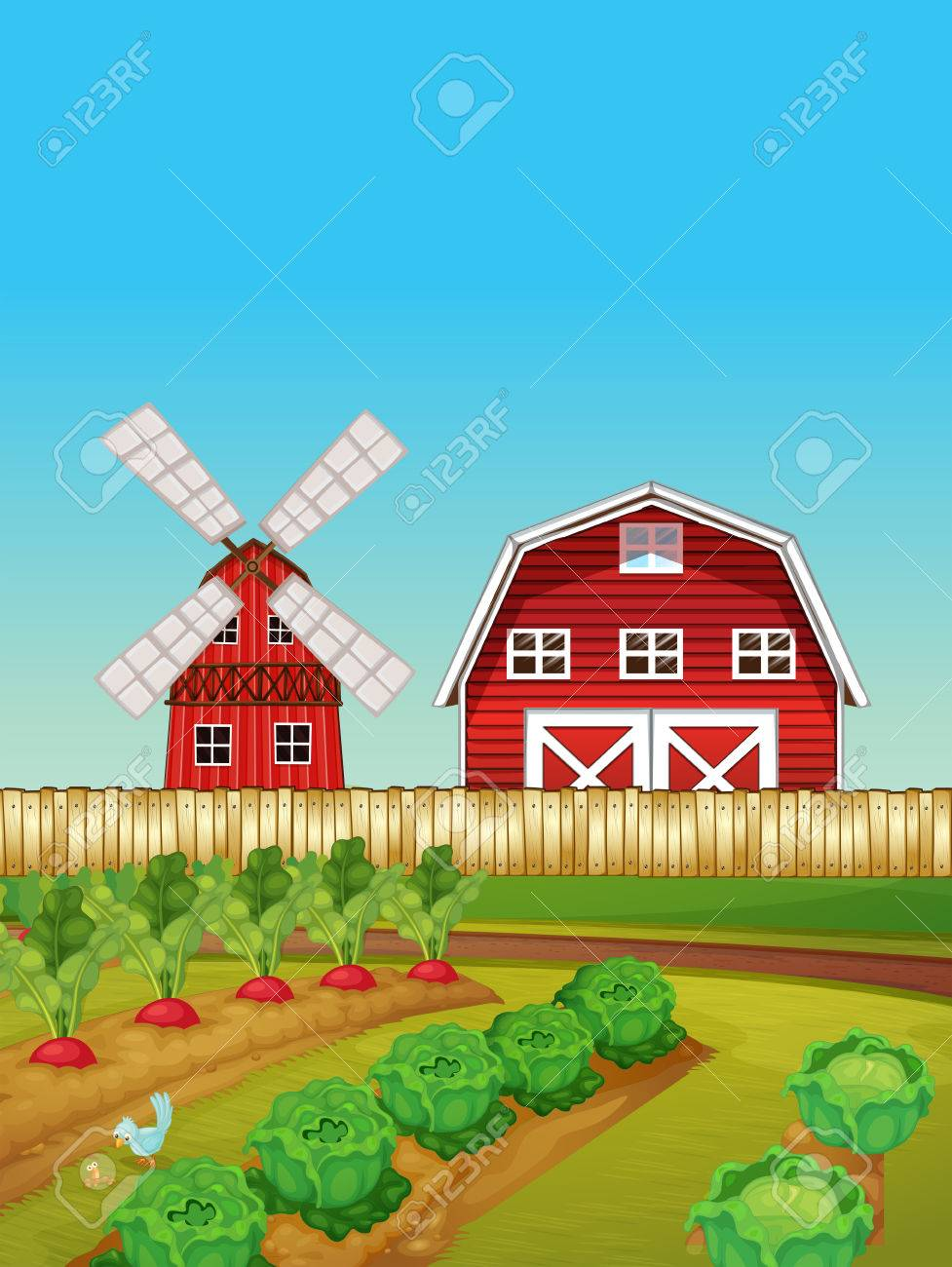 Farm Scene With Vegetable Garden And Barn Illustration Royalty Free ... for Farm Garden Clipart  55jwn