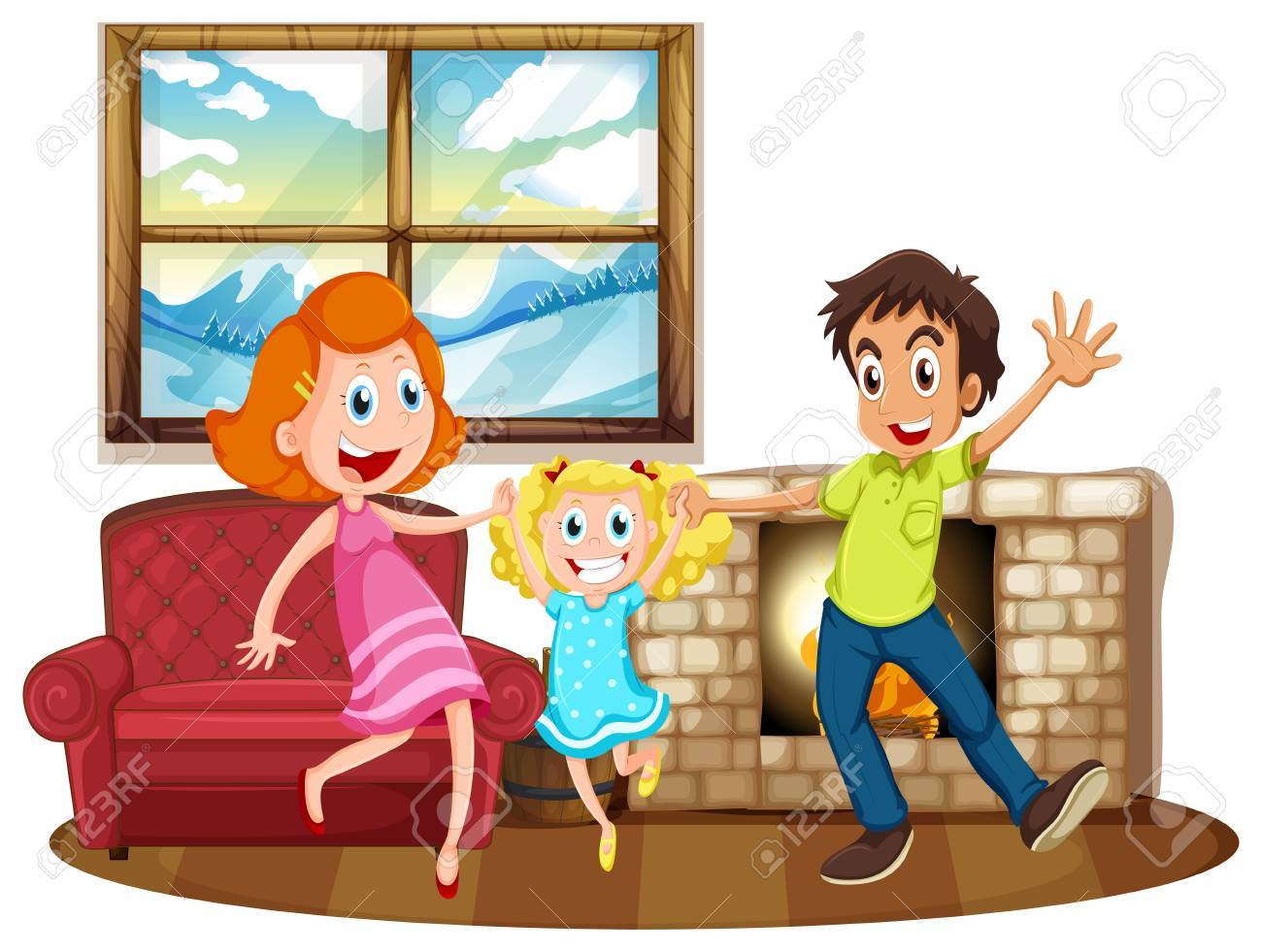 Happy Family In The Living Room Illustration Stock Vector