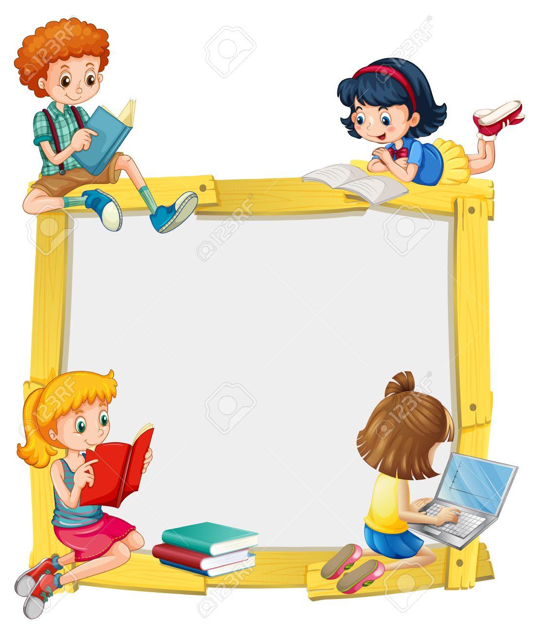子供の読書と宿題イラストとボーダー デザインのイラスト素材ベクタ