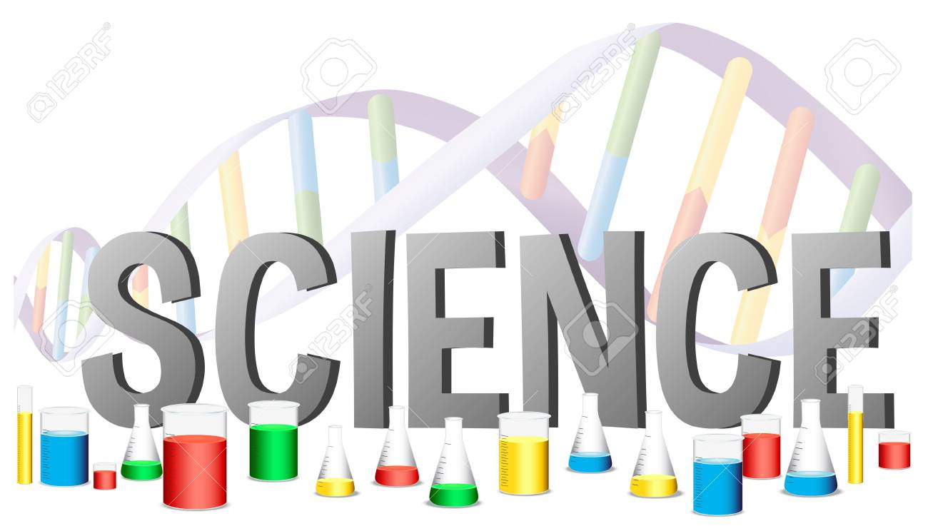 word design for science with science equipments illustration royalty