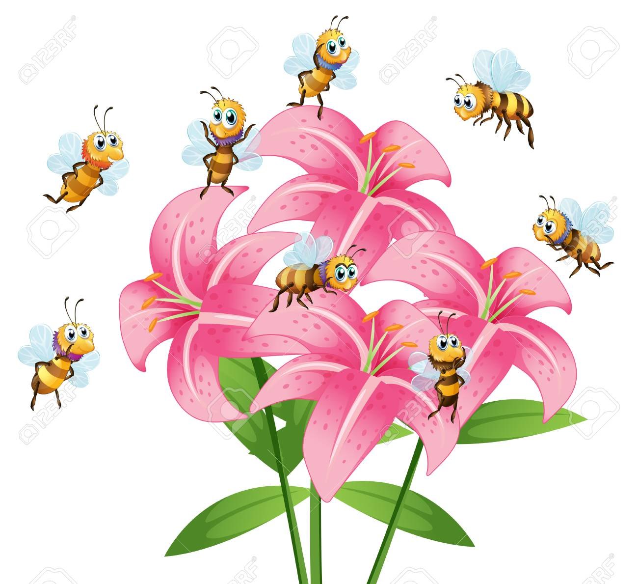 Many bees flying around the lily flower illustration royalty free many bees flying around the lily flower illustration stock vector 67370111 izmirmasajfo