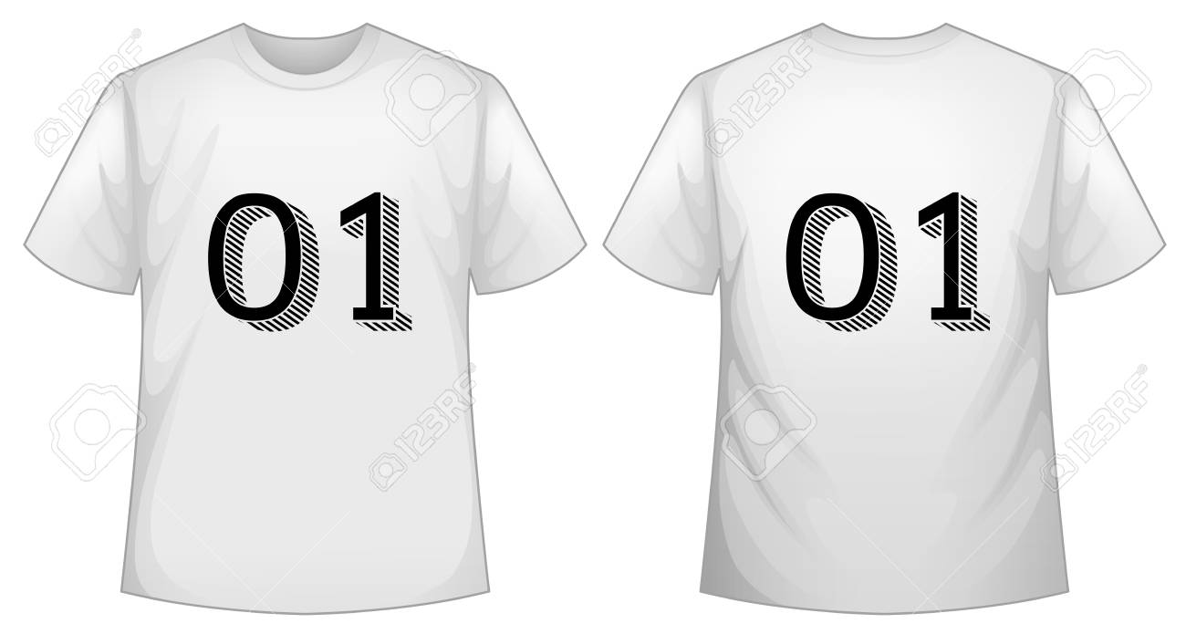 White T Shirt Template With Front And Back Illustration Royalty Free