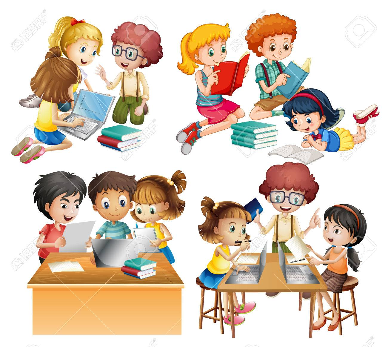 groups of students reading and working on computer illustration