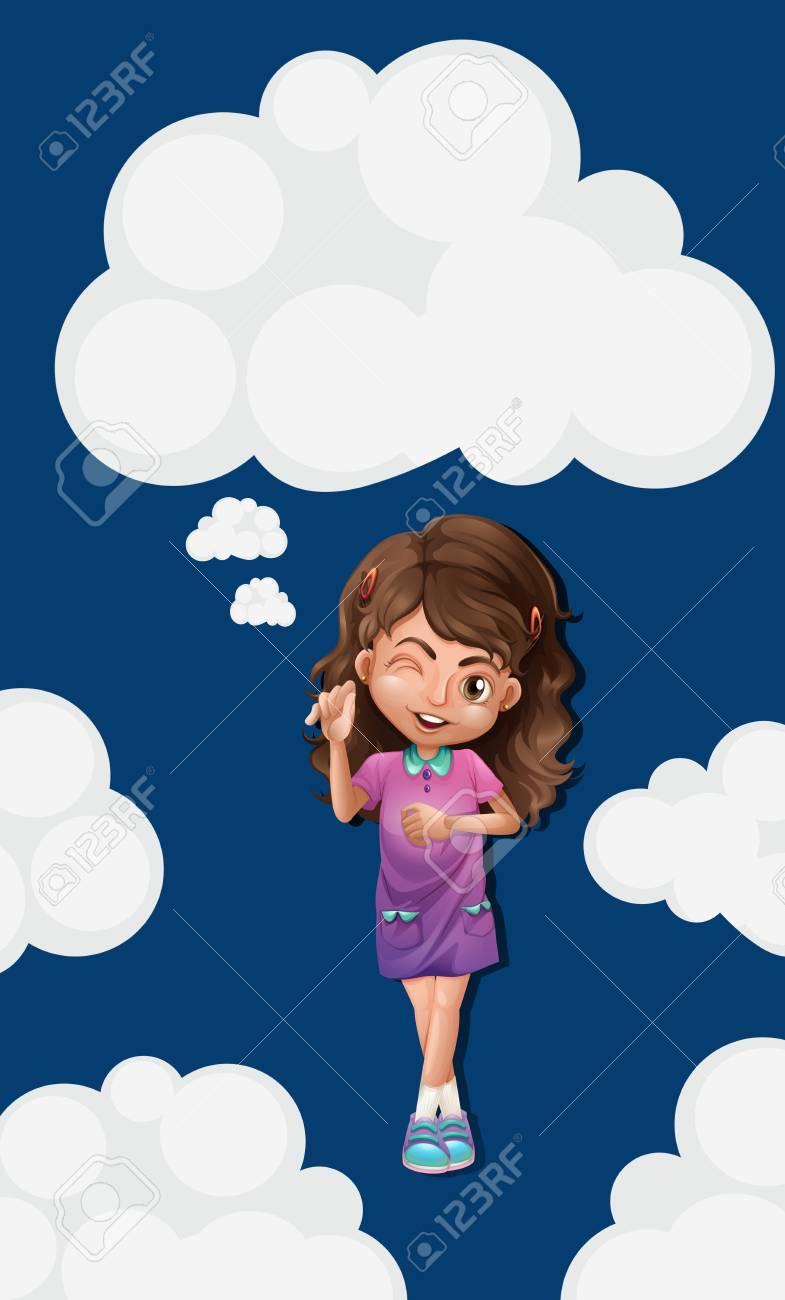 青い空の図でのかわいい女の子のイラスト素材ベクタ Image 67924848