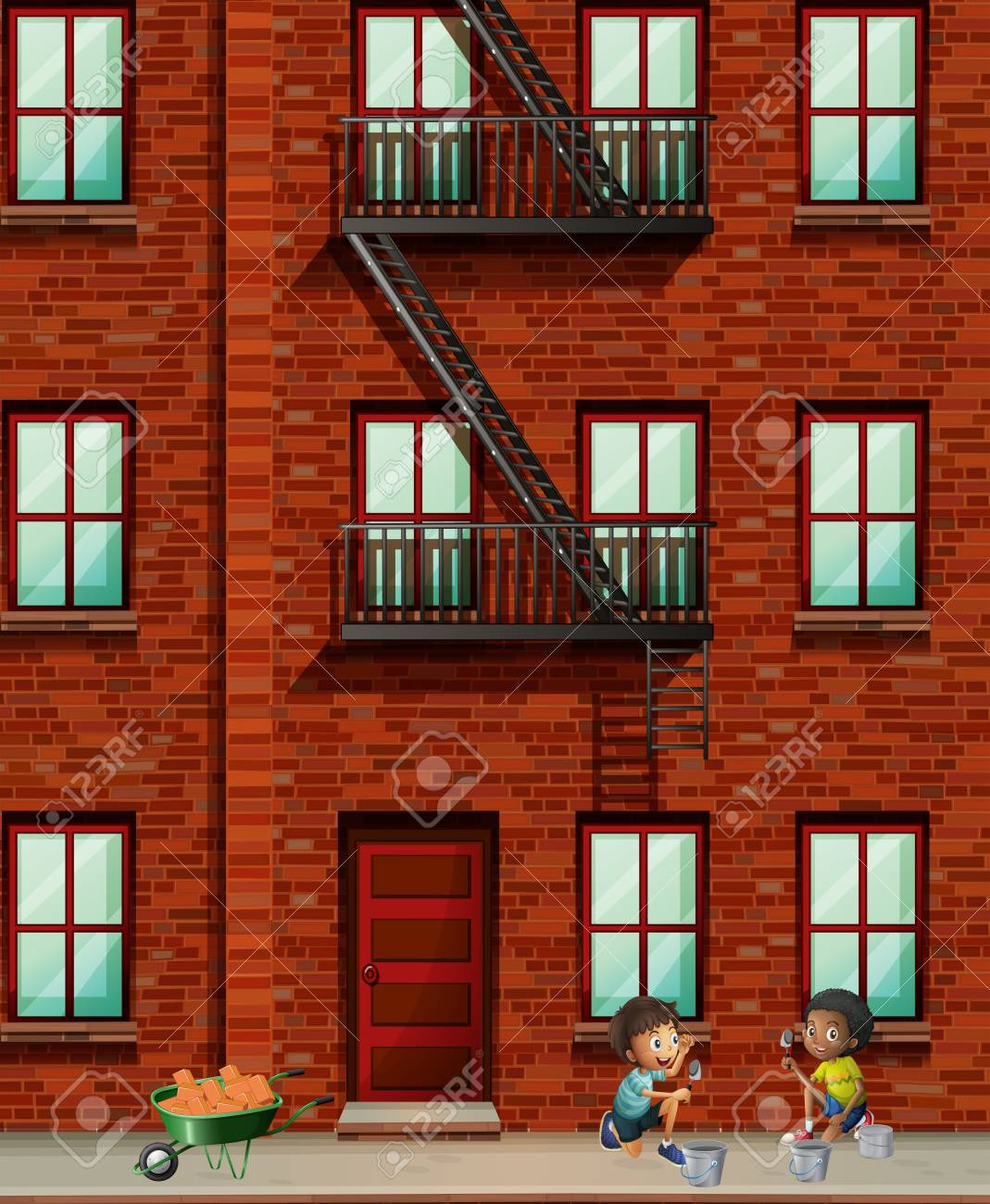 Merveilleux Apartment Building Scene With Boys Laying Bricks Illustration Stock Vector    68313018