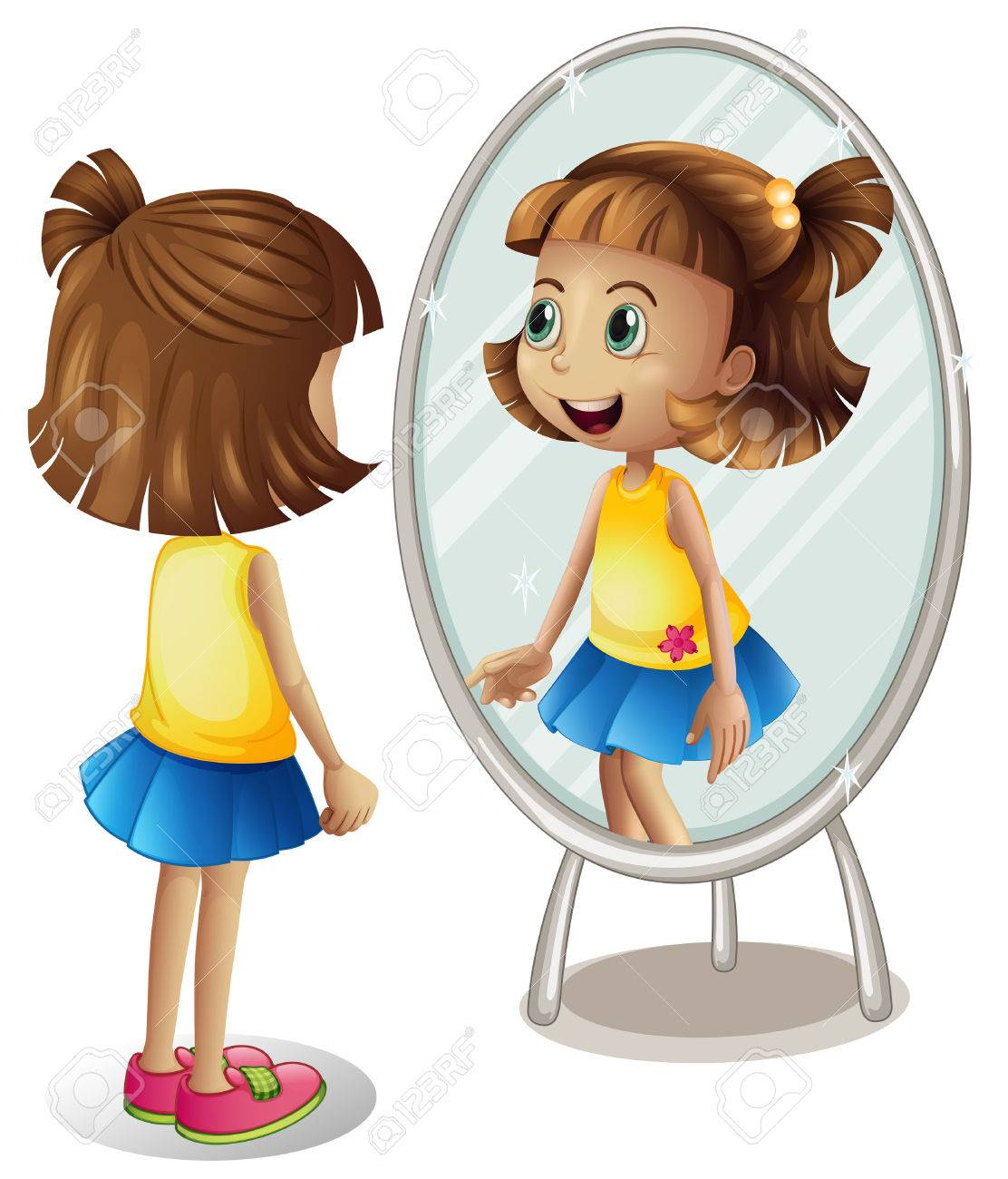 Little girl looking at herself in mirror illustration - 69835579