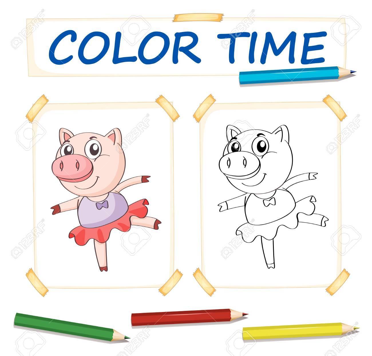Plantilla Para Colorear Con Cerdo En Vestido De Ballet Ilustración ...