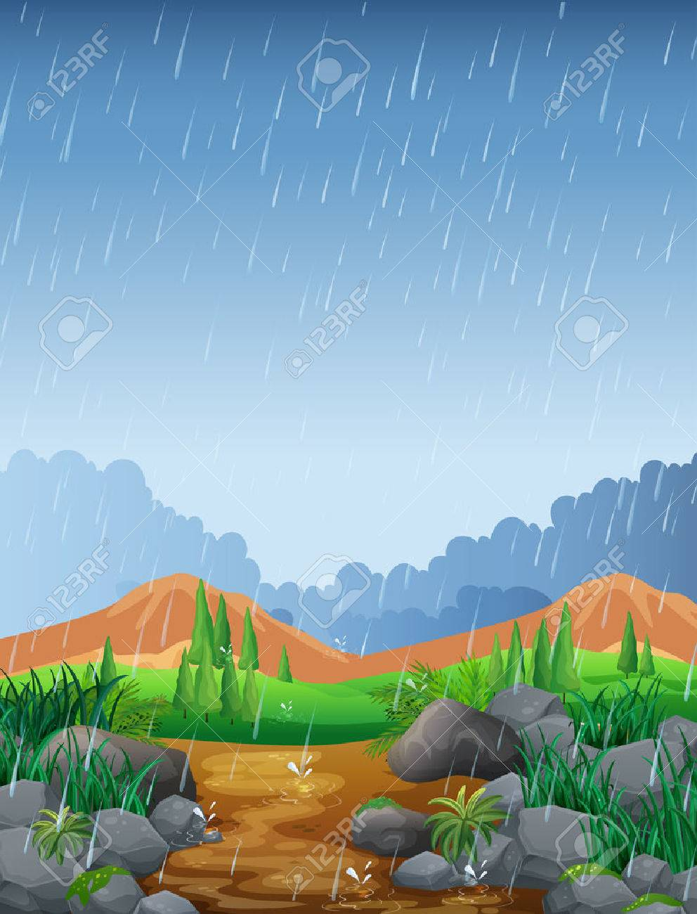 Scene with rainfall in the field illustration - 69835981