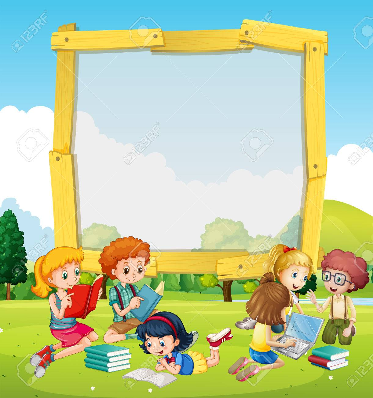 Border Template With Kids Reading Illustration Royalty Free Cliparts