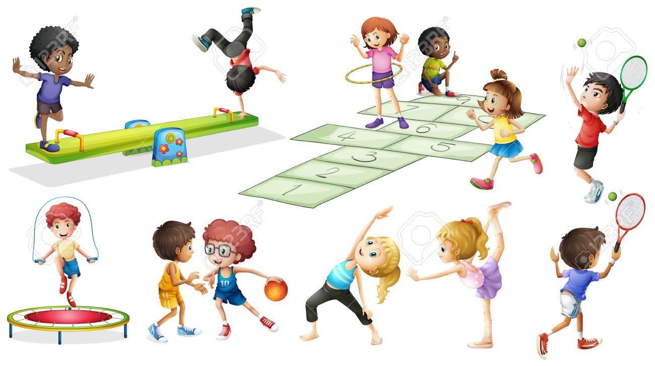 Ninos Que Hacen Diferentes Deportes Y Juegos Ilustracion