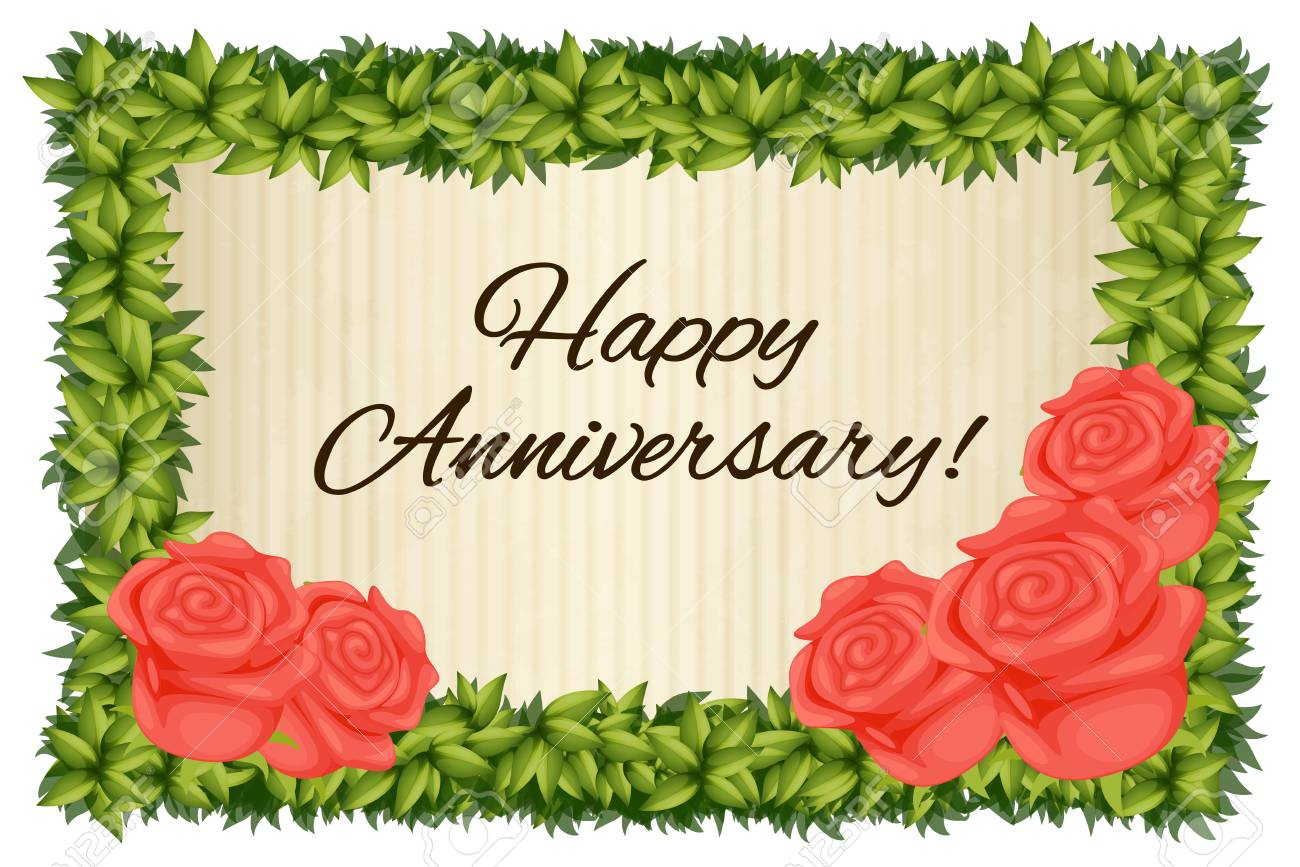 happy anniversary card template with red roses illustration royalty