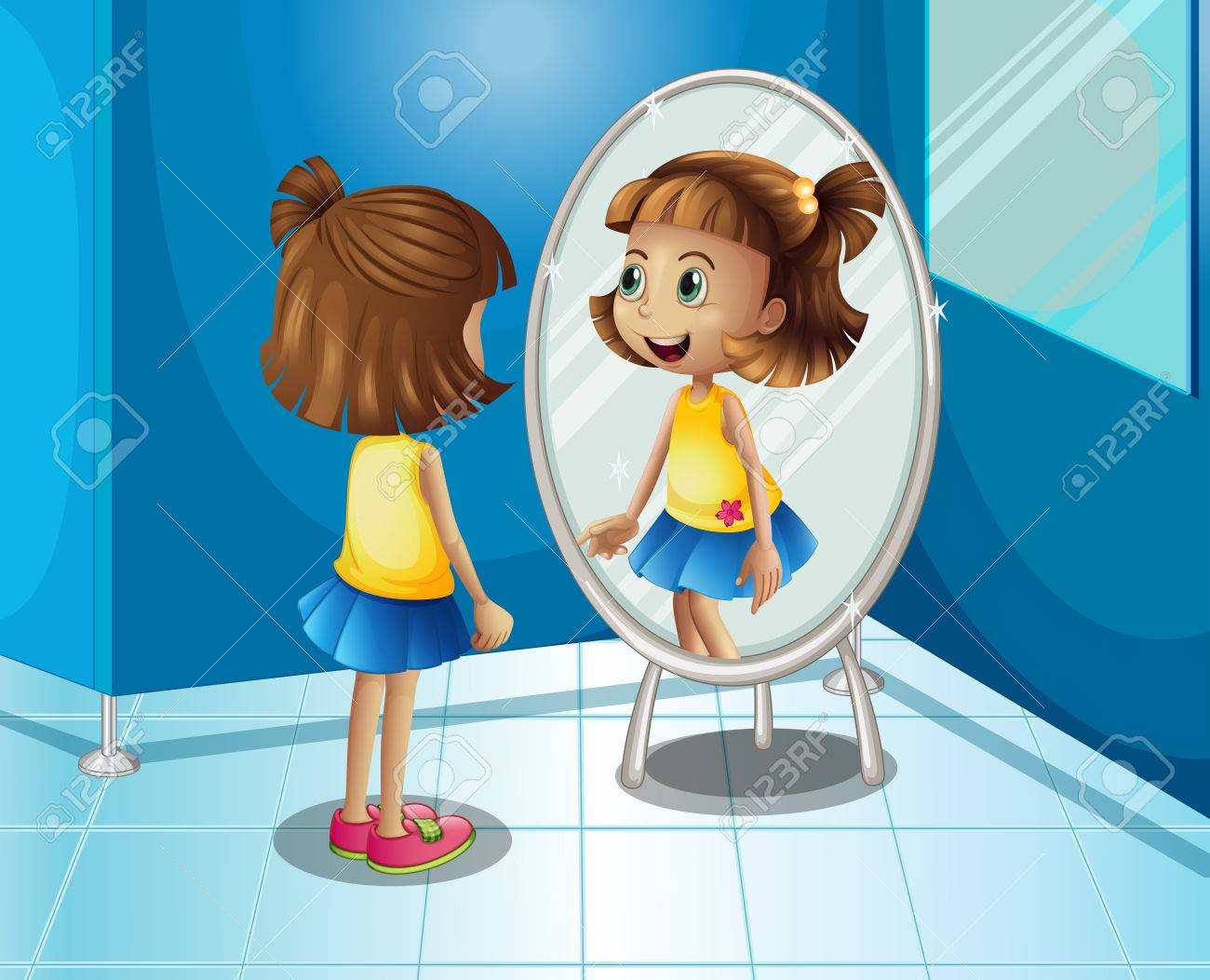 Happy girl looking at the mirror in bathroom illustration - 70683417
