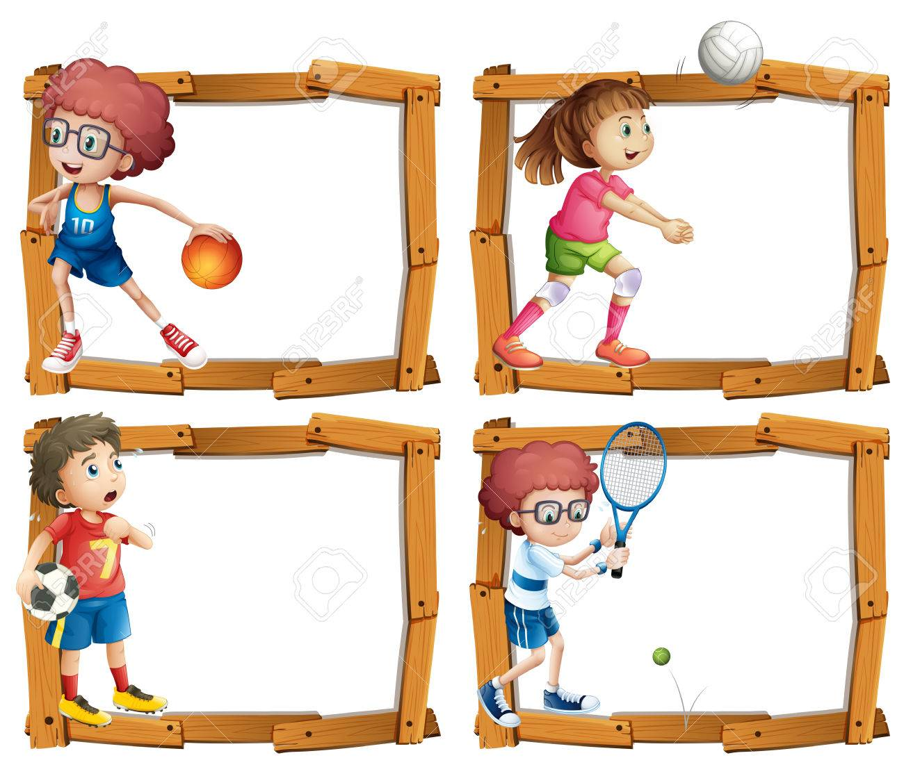 2356cd9eebe Frame template with kids playing sports illustration Stock Vector - 71395407