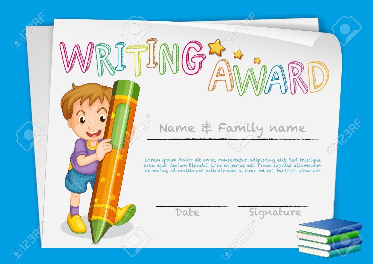 Certificate template for writing award illustration royalty free certificate template for writing award illustration stock vector 73056039 yadclub