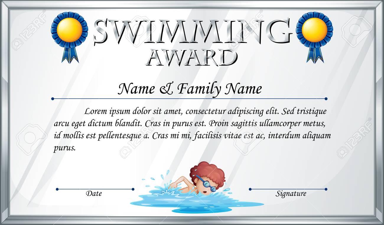 Certificate Template For Swimming Award Illustration Stock Vector