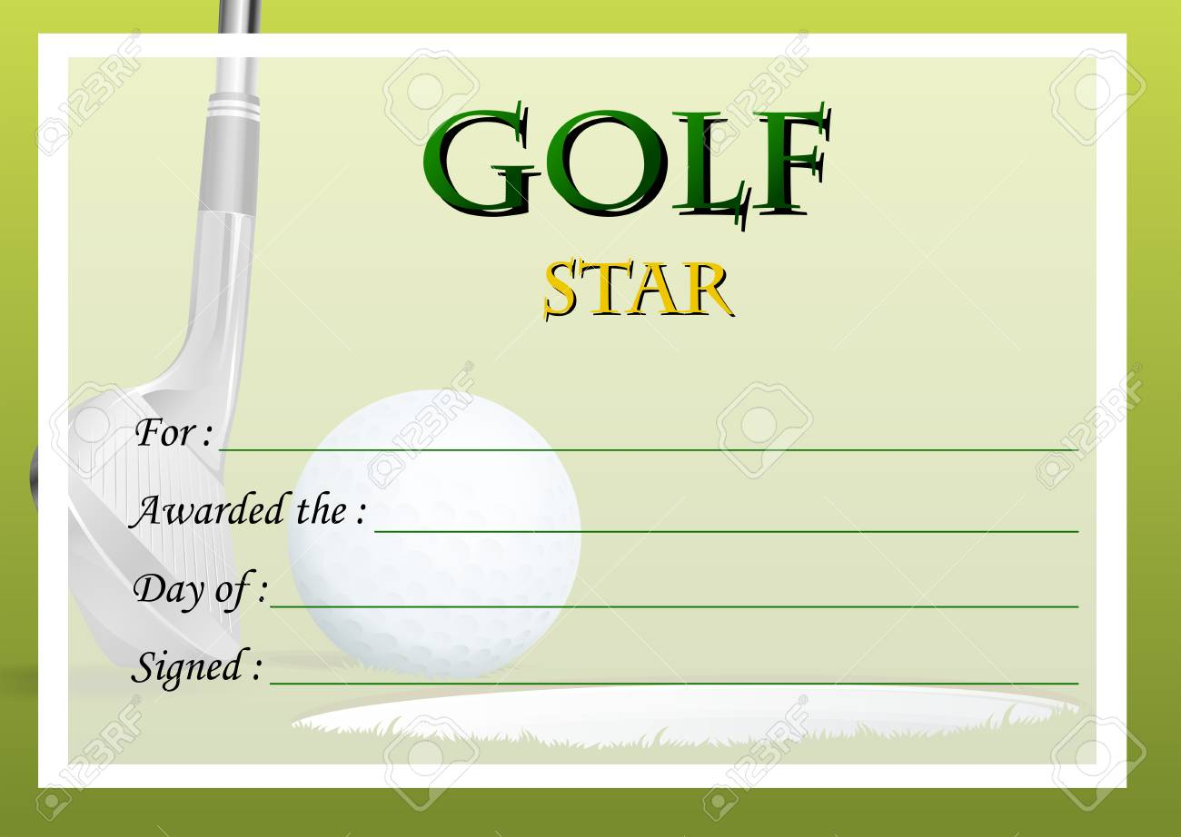 Certificate Template For Golf Star Illustration Royalty Free