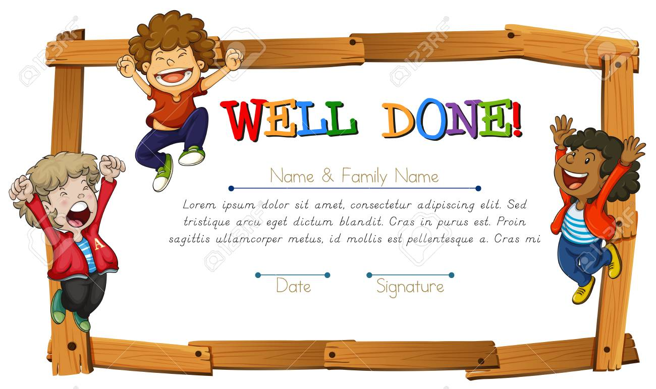 Certificate template with kids and wooden frame illustration royalty certificate template with kids and wooden frame illustration stock vector 73056337 yadclub Gallery